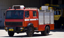 Airbase Emergency Services Firetruck. Zwartkop Military Airbase emergency services firetruck at the ready, just in case it's personal are called upon during an Stock Photo