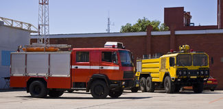 Airbase Emergency Services Firetrucks Royalty Free Stock Photos