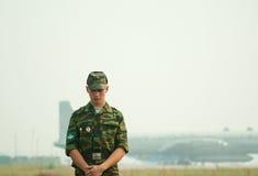 airbasen skydd fallskärmsjägareomkretsen Fotografering för Bildbyråer