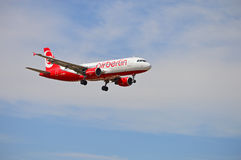 Airberlin Airbus. An airberlin airbus on final approach at Alicante Airport in Spain Stock Photo