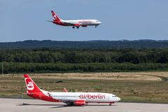 Airberlin aircrafts at the Cologne Bonn Airport Royalty Free Stock Photo
