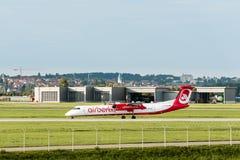 AirBerlin nivå på den Stuttgart flygplatsen Arkivbilder