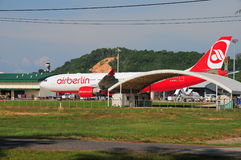 AirBerlin in Phuket Thailand. Air Berlin in Phuket Thailand waiting for days to be able to flight back to Europe Stock Image