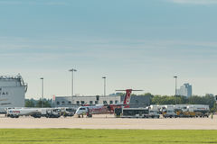 AirBerlin plane embarking at Stuttgart airport. Stuttgart, Germany - August 17, 2017: A plane by the bankrupt German airline AirBerlin has landed and is stock photography