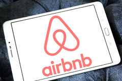 Airbnb logo. Logo of airbnb on samsung tablet .Airbnb is an online marketplace and hospitality service Stock Images