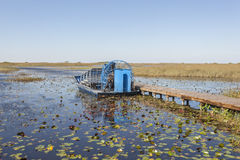 Airboat in the Everglades, Florida. Airboat at a jetty in the Everglades National Park. Florida, United States royalty free stock photography