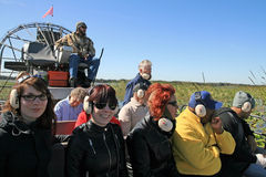 On the Airboat. An experience with airboat about the marshes of Florida is to be driven Stock Photos