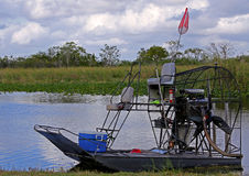 Airboat in the Florida Everglades. Small airboat in Holiday Park, Everglades stock photography