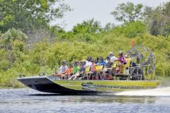Airboat ride tour of St.John River in Florida, USA. Airboat ride passenger boat tour of St.John River in Florida, USA royalty free stock photos