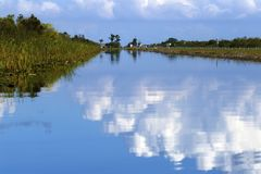 Florida Everglades National Park Waterway. Airboat rides in the Everglade national park give you views of spectacular scenery gliding along the waterway channels Stock Images
