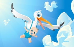 Airborne. Stork carrying baby,baby airborne, blue sky Royalty Free Stock Photography