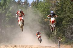 Airborne 3. Taken at a moto cross event in massey ontario Stock Photo
