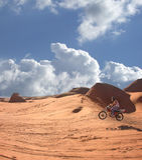 Airborne. Soaring above the desert sands, motorized enjoyment Royalty Free Stock Photo