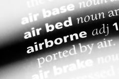 Airborne. Word in a dictionary.  concept stock images