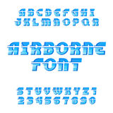 Airborne alphabet vector font. Oblique type letters and numbers. Airborne alphabet vector font. Oblique type letters and numbers on the white background Royalty Free Stock Photos