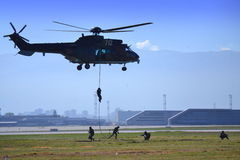 Commandos abseiling Sofia airport airshow Royalty Free Stock Photos