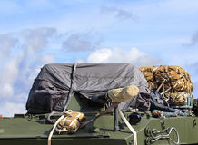 Airborne combat vehicle with cargo parachute systems Royalty Free Stock Images