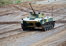Airborne combat vehicle. In a march over rough terrain stock photos
