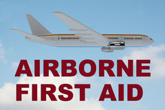 Airborne First Aid concept. 3D illustration of AIRBORNE FIRST AID title on cloudy sky as a background, under an airplane Stock Images