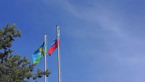Airborne flag and flag of Russia stock footage