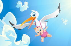 Airborne girl. Stork carrying baby,baby girl airborne, blue sky Stock Images