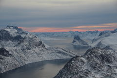 Airborne. Helicopter trip over southern Greenland Stock Image