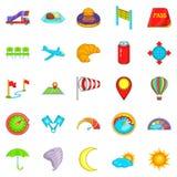 Airborne icons set, cartoon style. Airborne icons set. Cartoon set of 25 airborne vector icons for web isolated on white background Stock Photos