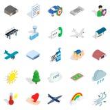 Airborne icons set, isometric style. Airborne icons set. Isometric set of 25 airborne vector icons for web isolated on white background Royalty Free Stock Photography
