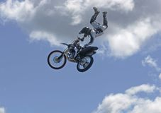 Airborne moto cross driver Stock Photos