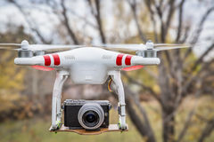 Airborne Phantom quadcopter drone Royalty Free Stock Images