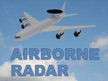 Airborne Radar concept. 3D illustration of AIRBORNE RADAR title on cloudy sky as a background, under an airplane with a round radar antena mounted upon it Royalty Free Stock Image