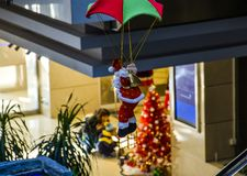 Airborne Santa Claus. In the building royalty free stock images