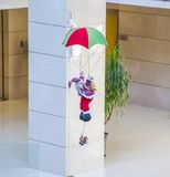 Airborne Santa Claus. In the building royalty free stock photography