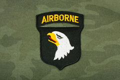 Airborne stripe. World War 2 - insignia US Army 101st Airborne Division on reconstruction group uniform royalty free stock image