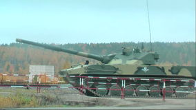 Airborne tracked armoured vehicle BMD-3 moves stock video