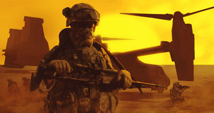 Airborne troopers desert. United States paratrooper airborne infantry in the desert stock photo