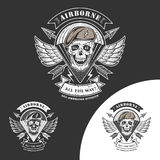 Airborne vector emblem. With skull, arrows, wings and parachute Royalty Free Stock Photography