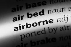 Airborne. Word in a dictionary.  concept stock photo