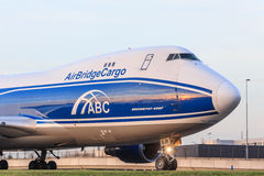 AirBridgeCargo 747. Nose shot of AirBridgeCargo Boeing 747 taxiing Royalty Free Stock Photography
