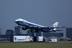 AirBridgeCargo plane taking off from Amsterdam Airport, AMS royalty free stock photos