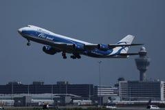 AirBridgeCargo plane taking off from Amsterdam Airport, AMS stock photo