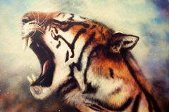Airbrush painting of a roaring tiger Royalty Free Stock Images