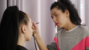Airbrush professional makeup. Female makeup artist applies airbrush concealer to the face of the client stock video