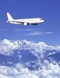 Airbus über Himalaja stockfoto