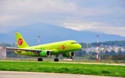 Airbus A-319, avion de ligne de passager des compagnies aériennes S7 Image stock