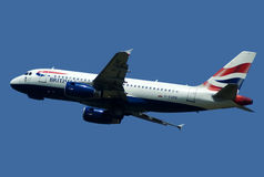 AIRBUS A-319 IN FLIGHT. Airbus A-319 jet climbing after take off from Belgrade airport, british airways Stock Image