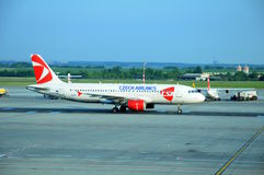 Airbus A 319 in Prague airport Stock Images
