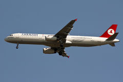 Airbus A-330 of Turkish Airlines. Is about to land Stock Images