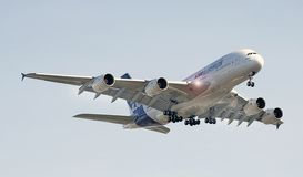 Airbus A-380. On promotional tour coming in for landing Stock Photography