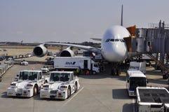 Airbus A-380 all'aeroporto di Narita Fotografia Stock Libera da Diritti